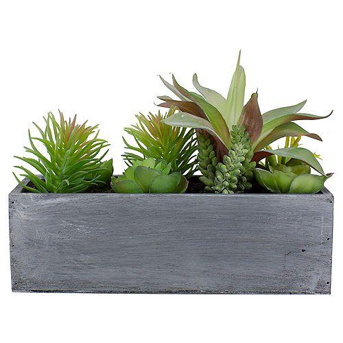 """12 """"plantes succulentes mixtes artificielles dans une jardinière rectangulaire"""