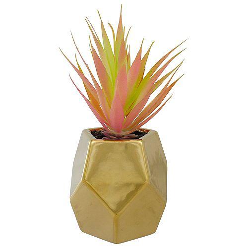 """Herbe épée artificielle verte de 8 """"dans un pot géométrique en or"""