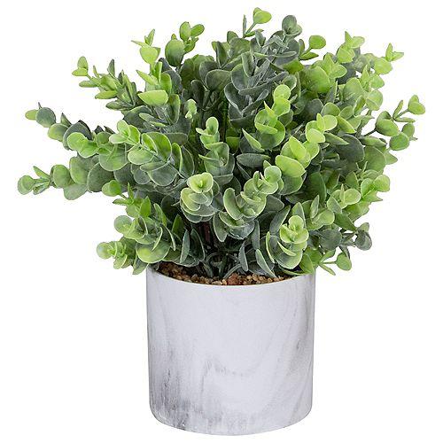 """Euchyptus artificiel vert 9 """"dans un pot blanc de style marbre"""