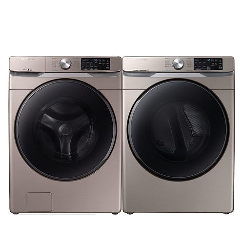 Smart Front Load Washer and Electric Dryer Set in Champagne