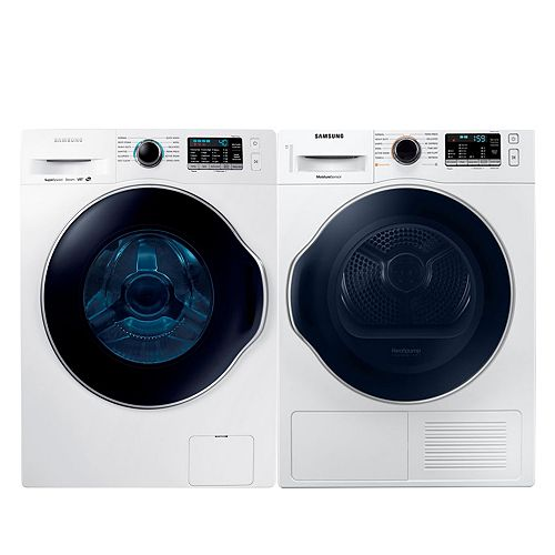 Front Load Washer and Electric Dryer Set in White