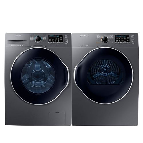 Front Load Washer and Electric Dryer Set in Platinum