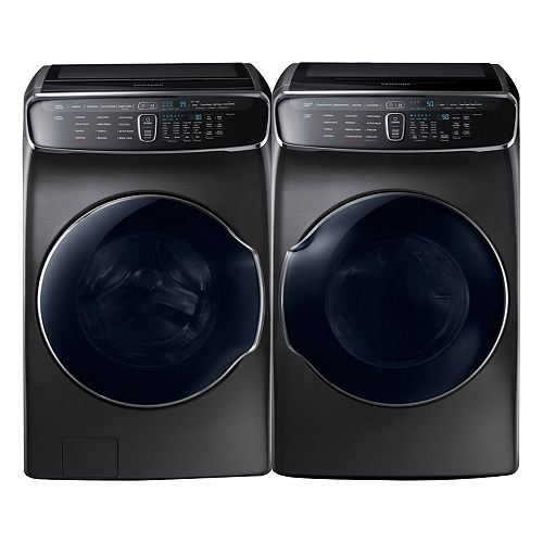 Front Load Washer and Electric Dryer Set in Black Stainless Steel