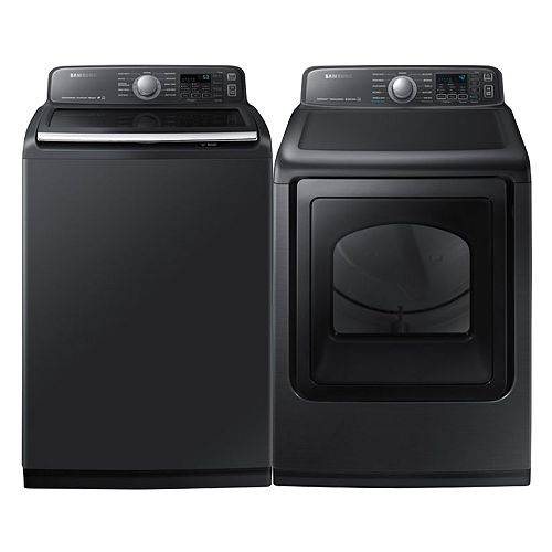 Smart Washer and Electric Dryer Set in Black Stainless Steel