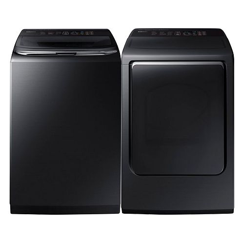 Top Load Washer and Electric Dryer Set in Black Stainless Steel
