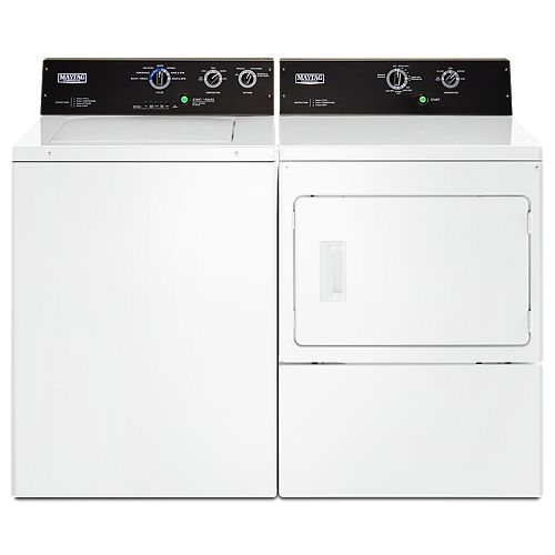 Top Load Washer and Electric Dryer Set in White
