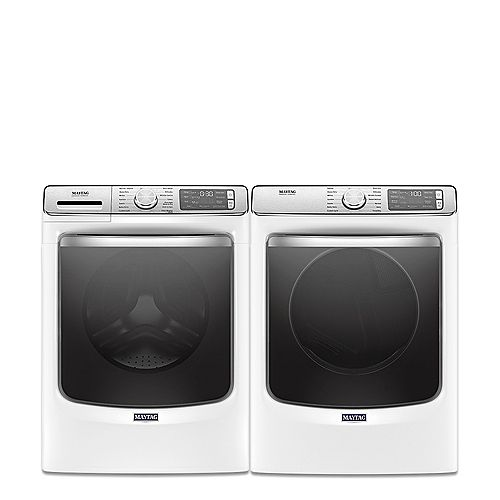 Smart Front Load Washer and Electric Dryer Set in White