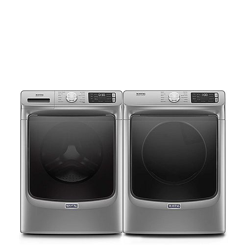 Front Load Washer and Electric Dryer Set in Chrome Shadow
