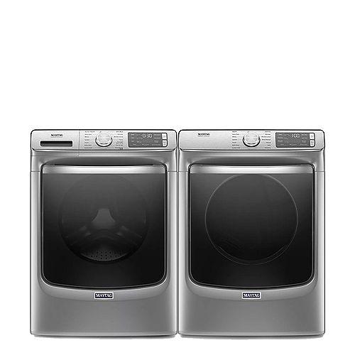 Smart Washer and Dryer Set in Metallic Slate