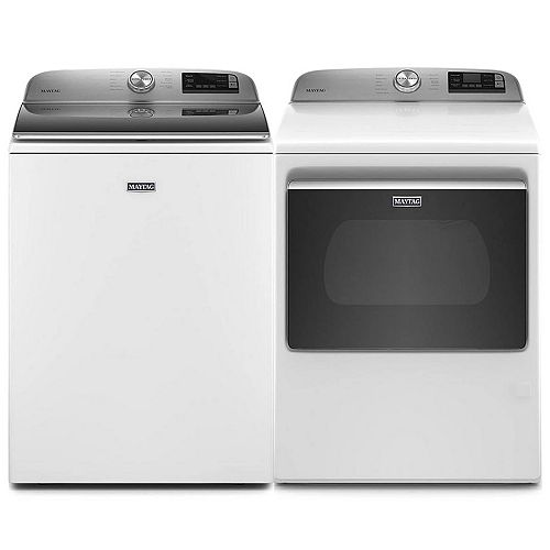 Smart Top Load Washer and Smart Electric Dryer Set In White