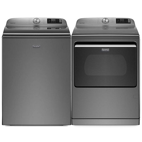 Smart Top Load Washer and Electric Dryer Set in Metallic Slate